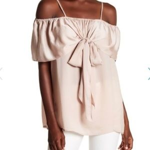 Pleione Ruffle Bow off shoulder tie front Top